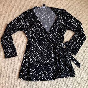 Polka dot long sleeve tie blouse size small